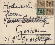 INFLA DR MiNr. 279 A, 3x 281 + Dienst 89, 90, 2x 91 MischFr., Geprüft: Peschl, Auf Brief  Mit Stempel: Hechingen 22.9.19 - Deutschland