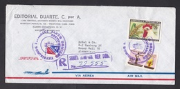 Dominican Republic: Registered Airmail Cover To Germany, 1971, 3 Stamps, Olympics, Shooting, Chicken (2 Stamps Damaged!) - Dominicaanse Republiek