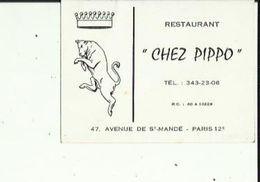 Carte De Visite De Chez PIPO  Restaurant A Saint-Mandé PARIS 12e - Cartoncini Da Visita