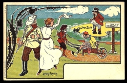 CPA PRECURSEUR FRANCE- MILITARIA 1900- ILLUSTRATION HUMORISTIQUE- GUERRE DES BOERS- LADY SMITH ET JOHN BULL- - Humorísticas