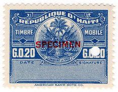 (I.B) Haiti Revenue : Duty Stamp 20c (Specimen) - Haiti