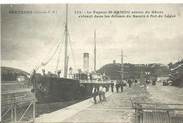 22   St Brieuc     Le Vapeur  Retour Du Havre A Quai Tres Animée - Saint-Brieuc