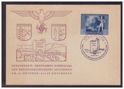 Dt.- Reich (005035) Gedenkkarte Briefmarken Werbeschau Der Kreissammlergruppe Sonthfen Mit SST Sonthofen Vom 18.10.1942 - Germany
