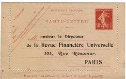 """LSAU12CO - CARTE LETTRE SEMEUSE CAMEE 10c REPIQUAGE """"LA REVUE FINANCIERE UNIVERSELLE"""" NEUVE DATE 047 - Entiers Postaux"""