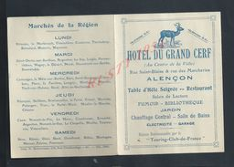 CDV CARTE DE VISITE ILLUSTREE TYPE DEPLIANT PUBLICITAIRE HOTEL DU GRAND CERF ALENCON : - Visitenkarten
