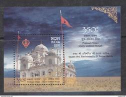 INDIA, 2017 Guru Gobind Singh 350th Birth Anniv,, Prakash Utsav,Sikhs Guru, Gurudwara, Temple Miniature Sheet, MNH, (**) - Nuevos