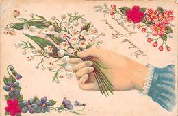 ¤¤   -  Illustrateur  -  Carte Gauffrée  -  Muguet , Main     -  ¤¤ - Fleurs