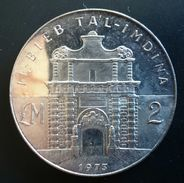 "MALTA 2 POUNDS 1973 SILVER PROOF LIKE ""Tal - Imdina Gate"" Free Shipping Via Registered Air Mail - Malta"