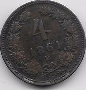 Autriche - 4 Kreuzer 1861 B - Autriche