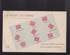 Carte Humoristique ,  Le Secret Du Timbre - France