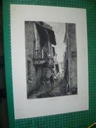 Une Rue à Royat. Grande Eau-forte Originale Du 18e Siècle. - Prints & Engravings