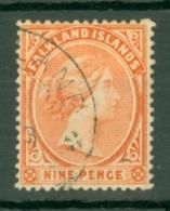 Falkland Is: 1891/1902   QV   SG35    9d   Pale Reddish Orange   Used - Falkland Islands