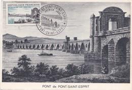 Carte 1966 PREMIER JOUR PONT SAINT ESPRIT / TIMBRE ET CACHET - Pont-Saint-Esprit