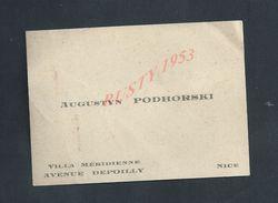 CDV CARTE DE VISITE AUGUSTYN PODHORSKI VILLA MERIDIENNE Av DEPOILLY NICE : - Cartes De Visite