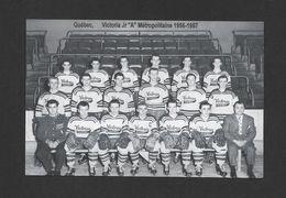 SPORTS - HOCKEY - QUÉBEC CLUB DE HOCKEY VICTORIA Jr. ``A`` MÉTROPOLITAINE 1956-1957 - Sports D'hiver