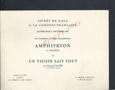 FAIRE PART D INVITATION SOIREE GALA COMEDIE FRANCAISE AMPHITRYON DE MOLIERE & UN VOISIN SAIT TOUT DE G BAUËR À VLADIKINE - Faire-part