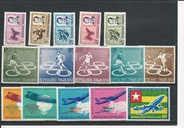 TOGO Scott 486-0, 491-4,C43, 496-9,C44  Yvert  419-3, 425-8,PA45,435-438,PA47 (15) **cote 12$ 1964 - Togo (1960-...)