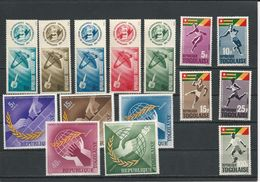 TOGO Scott 516-520, 525-526,C46, 538-542 Yvert  444-448, 453-456,PA48, 466-470 (15) ** Cote 8,60$ 1965 - Togo (1960-...)