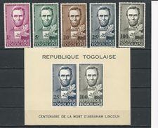 TOGO Scott 521-524, C45, C45a Yvert  449-452, PA47, BF16 (5+bloc) ** Cote 6,5$ 1965 - Togo (1960-...)