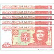 TWN - CUBA 127a - 3 Pesos 2004 DEALERS LOT X 5  FA-01 UNC - Cuba