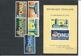 TOGO Scott 545-548, C48, C48a Yvert  471-474, PA50, BF19 (5+bloc) ** Cote 5,80$ 1965 - Togo (1960-...)