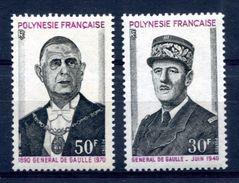 Thème Général De Gaulle - Polynésie Yvert 89 & 90 - Neuf Xxx - Cote 53 Euros - T 621 - De Gaulle (General)
