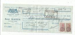 LETTRE DE CHANGE , 1941,distillerie De La Chaumière , Quinqina Soleil , R. MASSIA, Savigné , Vienne ,  Frais Fr : 1.45 E - Bills Of Exchange