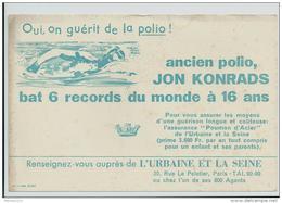 Buvard - Ancien Polio Jon Konrads Bat 6 Records Du Monde à 16 Ans - P
