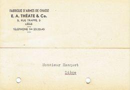 CP Publicitaire LIEGE 1956 E. A. THEATE & C° - Fabrique D'armes De Chasse - Liege
