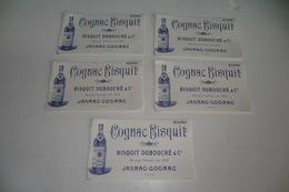VIEUX PAPIERS LOT DE 5 BUVARDS. COGNAC BISQUIT DUBOUCHE JARNAC COGNAC. TBE. - Liquor & Beer