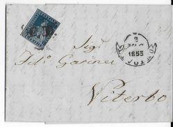 TOSCANE - 1853 - LETTRE De LIVORNO => VITERBO - COTE SASSONE 2004 = 1000 EUR. - Toscana