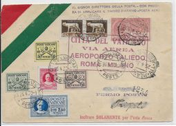 VATICAN - 1930 - RARE LETTRE Par AVION VOL AEROPORTO TALIEDO ROMA - MILANO => TRIPOLI - Vatican