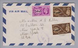 Afrika Marokko Tanger 1949-10-24 O.A.T.-Luftpostbrief Nach New York - Maroc (1956-...)