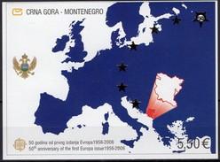 EU-Karte 50 Years CEPT 2006 CRNA GORA Block 3 ** 24€ Imperf. Hojita M/s Bloc Stamps On Stamp Map Ss Sheet Bf EUROPA - Montenegro