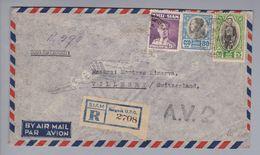 Thailand/Siam 1948-03-05 R-A.V.2 Luftpostbrief Nach Villeret CH - Thaïlande