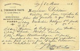 Postkaart Publicitaire Oblitératie Simpel Cirkel  YPRES 1906 - Header J. TYBERGHEIN-FRAEYS Drukkerij - PIANOS Te YPER - Ieper