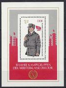 Germany (DDR) 1983  30 Jahre Kampfgruppen (**) MNH  Mi.2824 (block 72) - DDR
