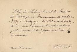 Carte Invitation Chevalier Armand De Menten De Horne Pour Albert Robyns De Schneidauer - Tarjetas De Visita