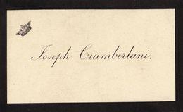 Carte De Joseph Ciamberlani Remerciement Signé Au Dos Joseph - Tarjetas De Visita