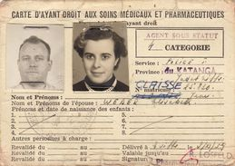 Carte D'ayant Droit Medecine Service Police Congo Belge Katanga Claisse Weber - Documentos Históricos