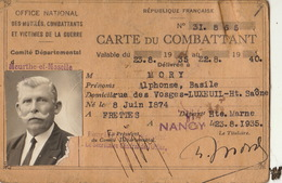 Carte De Combattant De Guerre Mory Haute Saone Decoration Médille - Documentos Históricos
