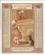 MANTES Chaussures Desvignes Rue Thiers RARE Chromo Calendrier 1884 Cartonné Enfant Gourmandise Chat Tabouret Confiture - Calendriers