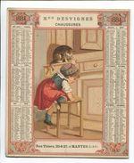 MANTES Chaussures Desvignes Rue Thiers RARE Chromo Calendrier 1884 Cartonné Enfant Gourmandise Chat Tabouret Confiture - Calendars