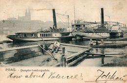 CPA PRAG. Dampfer Landungsplatz. Bateaux.  1909. - Czech Republic