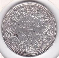 India-British 1 Rupee 1877 Victoria , Avec Point , En Argent. KM# 492 - Indien