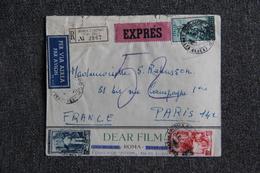 Lettre Recommandée Expédiée De ROME à PARIS - 6. 1946-.. Repubblica