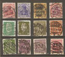 Allemagne, Empire - Marcophilie - Cachets LEIPZIG - Petit Lot De 12 Timbres° - Poststempel - Freistempel