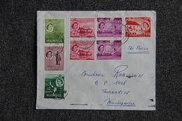 Timbre Sur Lettre Envoyée De L'Ile MAURICE à MADAGASCAR - Mauricio (...-1967)