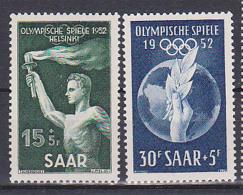 Saarland 314-15 Postfrisch, Sarre Olympischer Sommerspiele Helsinki Fackelträger Lorbeerzweig - Ungebraucht
