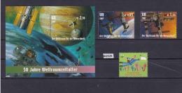 """ONU VIENNA 2007: Lotto Di 3 Valori In Serie E Foglietto BF25 """"Lo Spazio Per L'umanità. Cinquantenario Era  Spaziale"""". - Vienna - Ufficio Delle Nazioni Unite"""